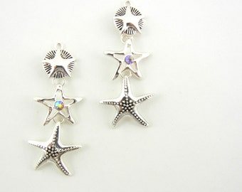 Silver-tone Starfish Drop Charms