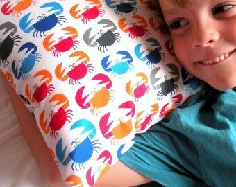 Boys Crabs Toddler Pillowcase - Organic Cotton, Eco Friendly - Blue, Red, Orange and Gray - Back to School, Naptime
