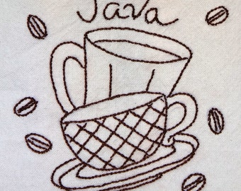 Hand Embroidered Cotton Dishtowel with Java Theme