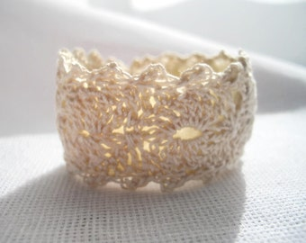 Cream thread crochet Lace cuff bracelet in the size of your choice hypoallergenic color choices available