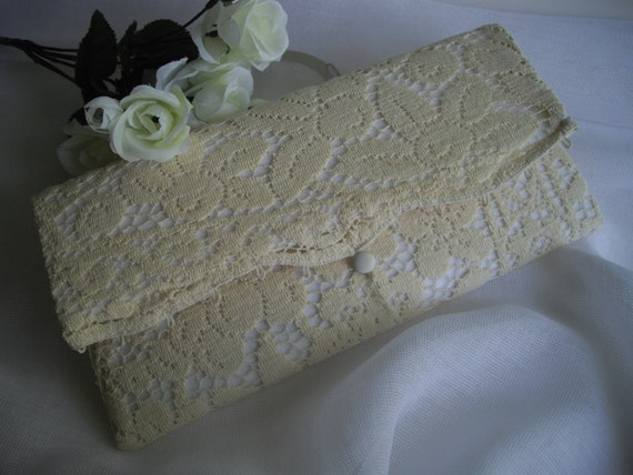 Vintage White Lace Wedding Heirloom Hanky Keeper Clutch Bag Ready To Ship