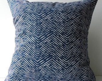 New 18x18 inch Designer Handmade Pillow Case navy blue chevron pattern.