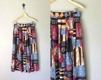 Vintage LELAINA Skirt • 1990s Clothing • Multicolor Patchwork Tribal Print •90s Mid Calf Length Full Maxi Skirt Modern • Women Medium Large