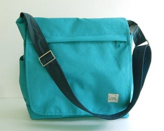 Sale - Bright Teal Tote, water resistant, purse, messenger bag, diaper bag, travel bag, gym bag, overnight bag,school bag - MILAN