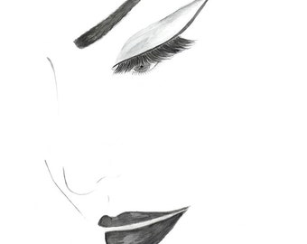 Hand Drawn Watercolor Cat Eye Fashion Illustration, Face Poster Black and White Print, Fashion Wall Art, Girls Room Decor