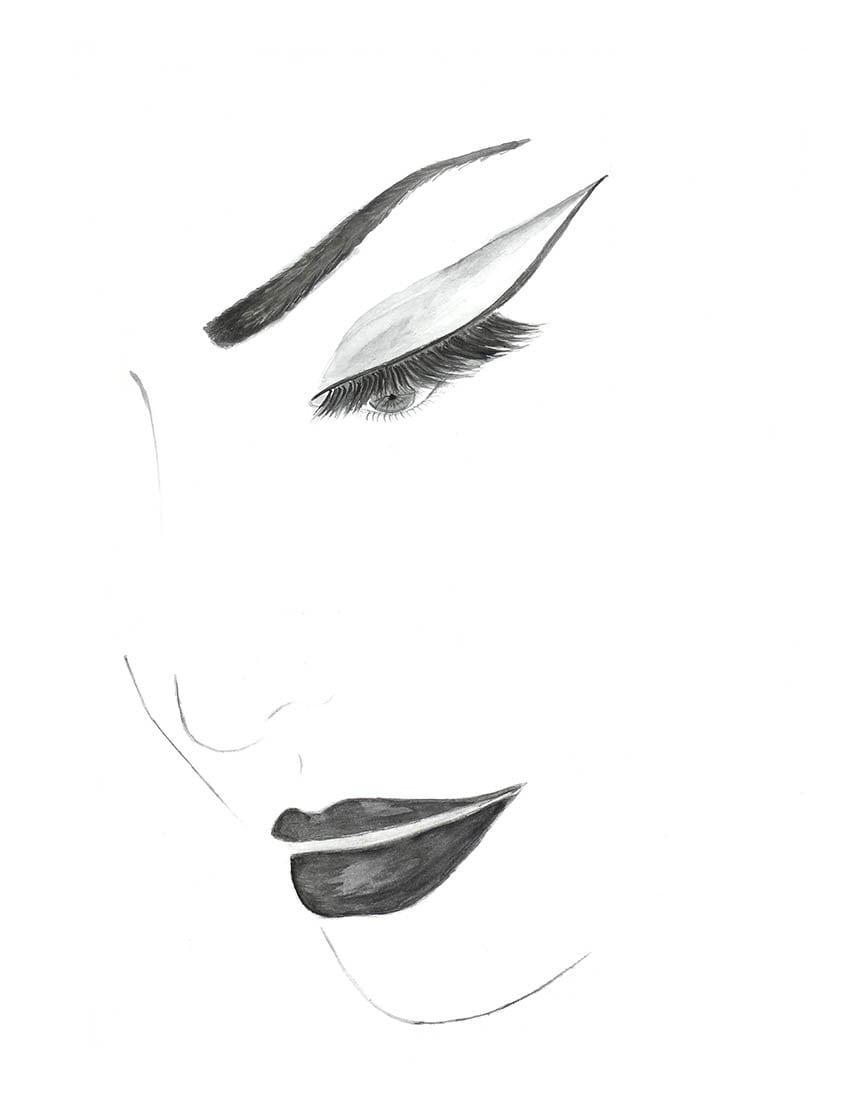 hand drawn watercolor cat eye fashion illustration face