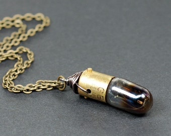 Steampunk Jewelry Necklace- Brass & Gunmetal Upcycled Burnt Out Iridescent Light Bulb Necklace, Steampunk Necklace, Lightbulb Necklace