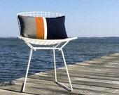 Orange Striped OUTDOOR Pillow Cover (Custom Colors) - Modern Decor by JillianReneDecor - Gray, Pumpkin, White & Navy - Summer Decor