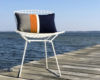 Orange Striped OUTDOOR Pillow Cover (Custom Colors) - Modern Decor by JillianReneDecor - Gray, Pumpkin, White & Navy - Summer Decor