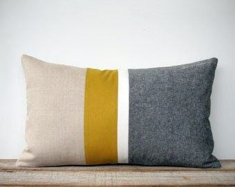 Chambray and Mustard Yellow Striped Lumbar Pillow Cover | Minimal Home Decor by JillianReneDecor (Custom Colors Available) Honey Gold