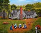 Boys Shooting Marbles Country Memories Old House Flowers Bird House Green Summer Chickens Tire Swing Folk Art by Arie Reinhardt Taylor