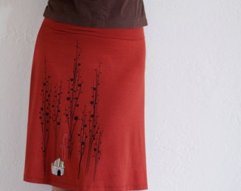 Plus Size Skirt, Midi Jersey skirt, A-line skirt Knee length skirt, Plus size Burnt orange skirt, Applique skirt - Little house
