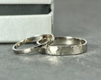 Wedding Band Set, 18K Palladium White Gold, Wedding Rings, 2mm and 4mm Hammered, Sea Babe Jewelry