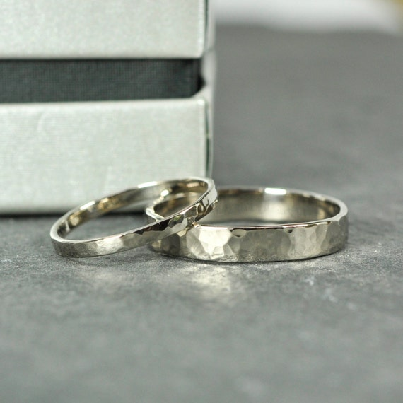 Wedding Band Set 18K Palladium White Gold Wedding Rings 2mm