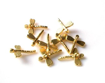 10 pcs- Matte Gold  plated Dragonfly Charm-18mm*10mm (003-021GP)
