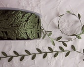 3yds green leaf trim on a vine great for scrapbooking quilts clothing holiday bridal