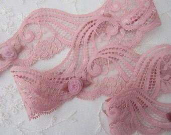 ORIGINAL DESIGN Vintage Lk Coral Pink Lace Ribbon Trim Antique Doll Clothing Couture