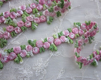 Embroidered Rose Bud PINK Flower Ribbon Trim Scrapbook Reborn Doll Quilt Sewing Couture