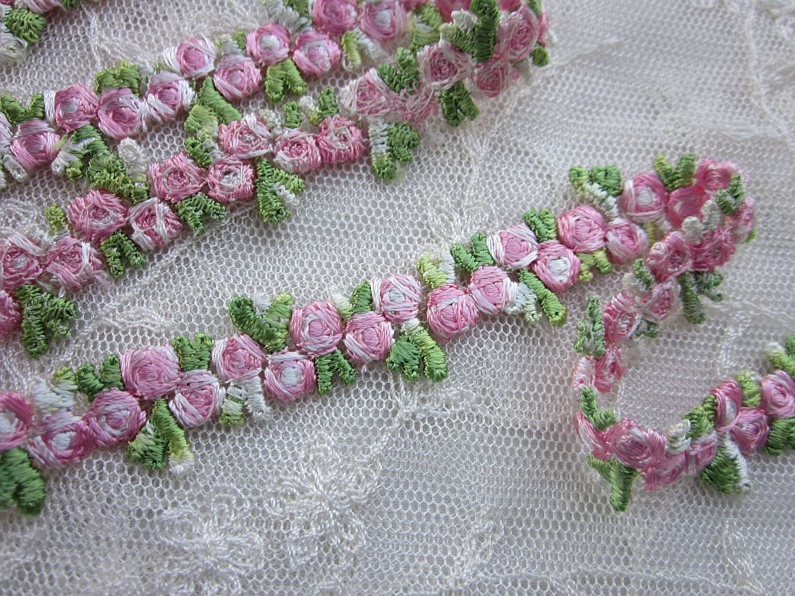 Embroidered rose bud pink flower ribbon trim scrapbook reborn