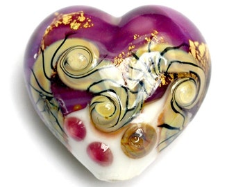 11818425 Cranberry Treasure Heart (Large) - Handmade Glass Lampwork Beads