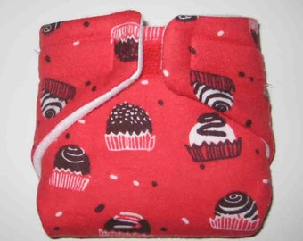 Baby Doll Cloth Diaper/Wipe-Holiday Cupcakes-Fits Bitty Baby,Baby Alive, Cabbage Patch, American Girl Dolls and More