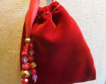 "Reversible Red Velvet Fuchsia Brocade Pouch Large Size 13.5 x 10 cm. (5 3//8"" x 4"") OlyTeam"