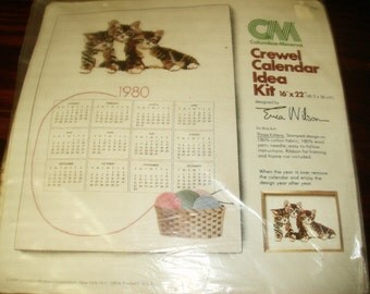 Crewel Kit Three Kittens Erica Wilson Columbia Minerva 7932 Complete and Ready to Stitch
