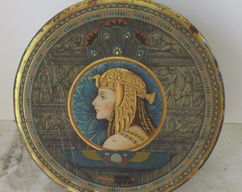 Art Deco tin Egyptian Revival tin Cleopatra tin round Sunshine fruitcake tin Loose Wiles Biscuit Company biscuit tin