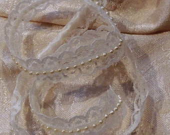 Pearl and winter white lace 3 yards