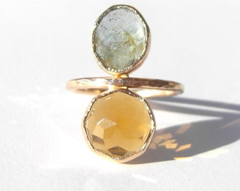 Moss Aquamarine and Honey Quartz Cleo Stacked Ring with Signature Dhalia Facet, Recycled 14k Gold stacking ring