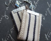 Tan with Black Stripes Bohemian Repurposed Fabric Textile, with Faceted Clear Crystal Beads
