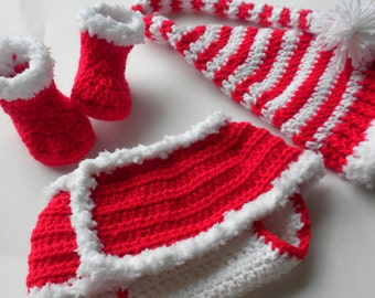 Crocheted Christmas Set for Baby, Baby Christmas Set, Newborn Baby Girl Christmas Set, Crocheted Diaper Cover, Crocheted Booties, Baby Hat