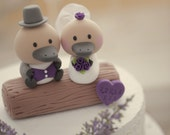 platypus Wedding Cake Topper with swallow-tailed coat, tuxedo and wedding dress---k718