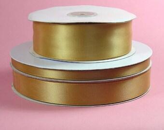 1/4 inch x 100 yds Single Face Satin Ribbon -- OLD GOLD