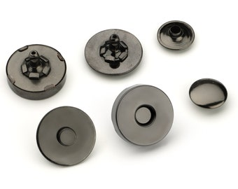 50pcs Double Rivet Magnetic Purse Snaps 18mm - Black Nickel - Free Shipping - (MAGNET SNAP MAG-204)