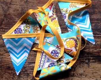 Day of the Dead Banner / Pennants Sugar Skulls Chevrons Turquoise and Yellow