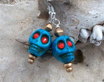 Skull Earrings Blue Howlite Stone Bead