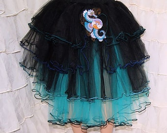 Teal and Black SteamPunk Seahorse Piped Hem Knee Length Formal TuTu Skirt Adult Medium Large MTCoffinz - Ready to Ship