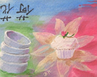 Original Mini Painting * LOTUS FLOWER CUPCAKE * Dessert Series *aceo Small  Art Format by Rodriguez