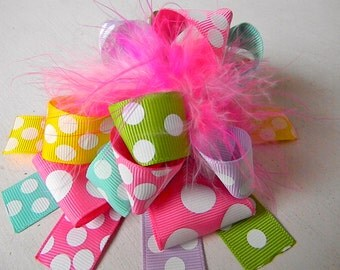 Hair bow Over the Top Bow Colorful Polka Dots