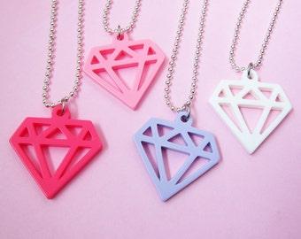 Diamond Plastic Necklace - Hot Pink, Light Pink, Lilac, White  (D2I1)