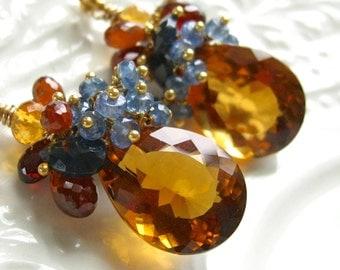 Citrine and Sapphire Earrings-Harvest Moon
