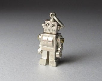 STEAMPUNK robot MICROBOT solid sterling silver