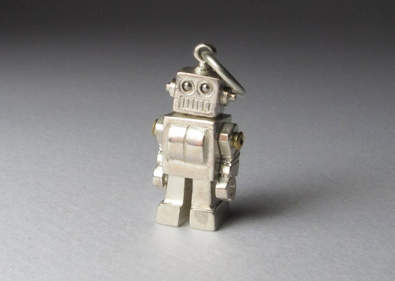 STEAMPUNK robot MICROBOT solid sterling silver expertly crafted on long gunmetal brass ball chain