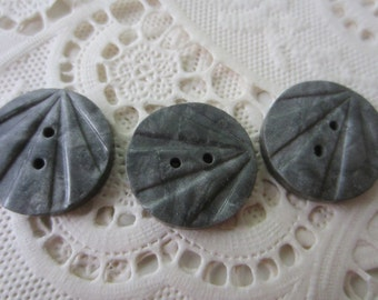 Vintage Button - 3 matching wafer style carved celluloid,  small 1940's (lot 9990)