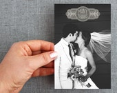"50+ Wedding, thank you, postcard, with photo, ""Art Deco Style"""