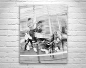 Carousels, Boys Room Wall Art, Carousel Picture, Black and White, Santa Cruz, Merry Go Round, Carnival, Kids Room, Nursery Wall Art
