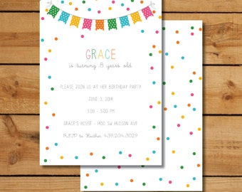 Rainbow Confetti Birthday Party Invitations - Confetti Bunting