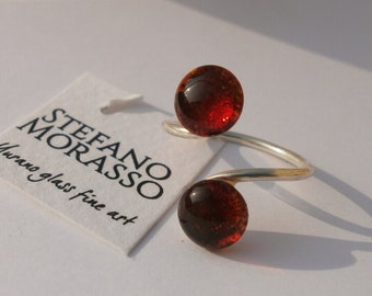 murano glass stones and copper silver plated ring