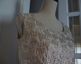 Vintage White Sleeveless Blouse with Gold and Silver Metallic Threading